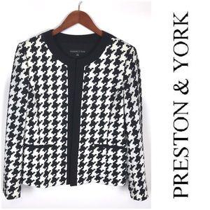 Preston & York Houndstooth Jacket Open Front Sz 12